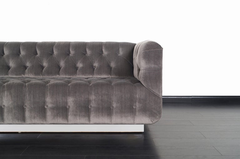 Late 20th Century Vintage Tufted Chrome Sofa by George Kasparian For Sale