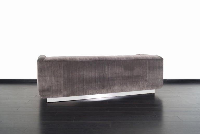 Vintage Tufted Chrome Sofa by George Kasparian For Sale 1