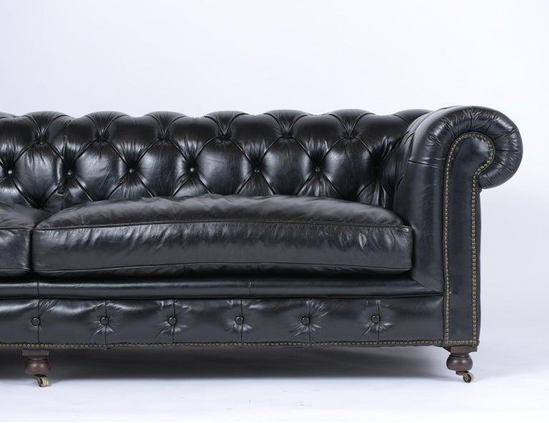 English Vintage Tufted Leather Chesterfield Sofa