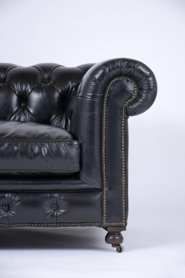 Dyed Vintage Tufted Leather Chesterfield Sofa