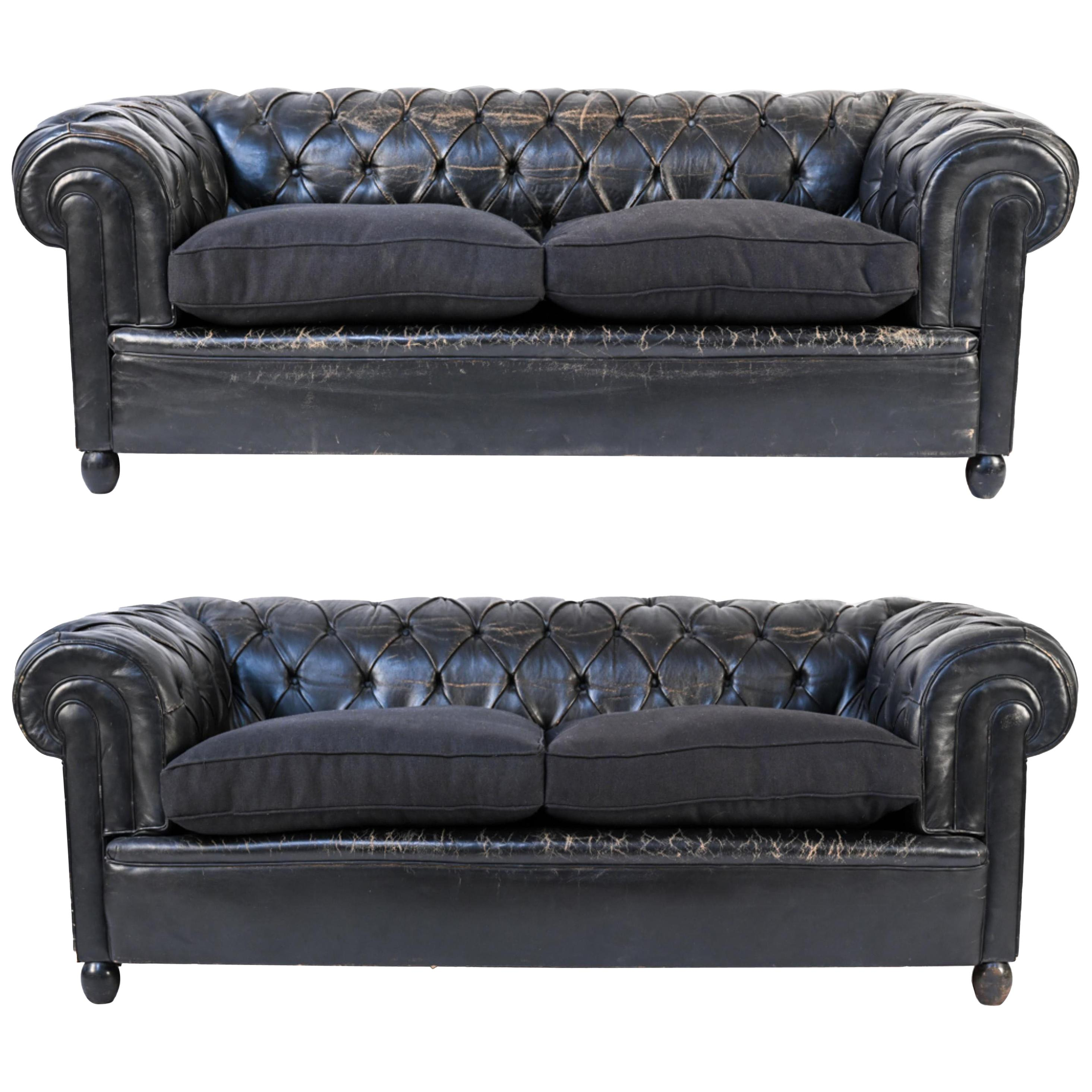 Vintage Tufted Leather Chesterfield Sofas, a Pair