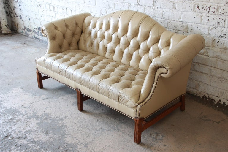 20th Century Vintage Tufted Tan Leather Chesterfield Sofa For Sale