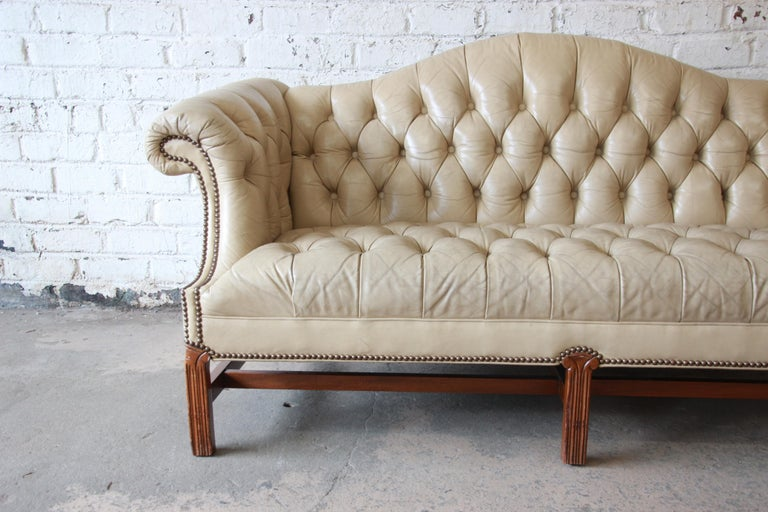 Brass Vintage Tufted Tan Leather Chesterfield Sofa For Sale