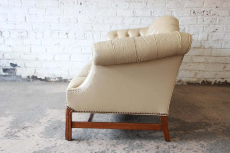 Vintage Tufted Tan Leather Chesterfield Sofa For Sale 3