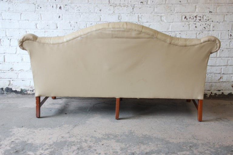 Vintage Tufted Tan Leather Chesterfield Sofa For Sale 4
