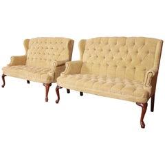Vintage Tufted Velvet Chesterfield Love Seats, Pair