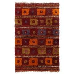 Vintage Tulu Geometric Red Orange and Green Wool High Pile Rug