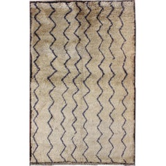 Vintage Tulu Rug with Modern design in Off White Color and Dark Blue Lines