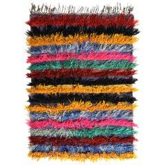 Vintage Tulu Shag Rug Blue Yellow Multicolor Stripe Pattern