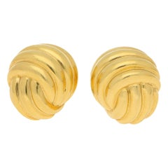 Vintage Turi Knot Ear Clips in Yellow Gold