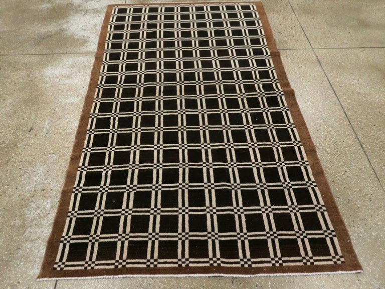 Hand-Knotted Vintage Turkish Anatolian Deco Rug For Sale