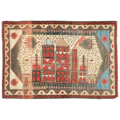Vintage Turkish Anatolian Pictorial Rug