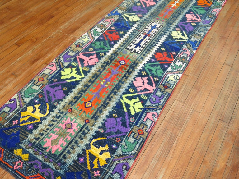 One of a kind 20th-century handwoven Turkish runner from our one of a kind attitude collection. Professionally washed and personally vetted. Ready for everyday use.
