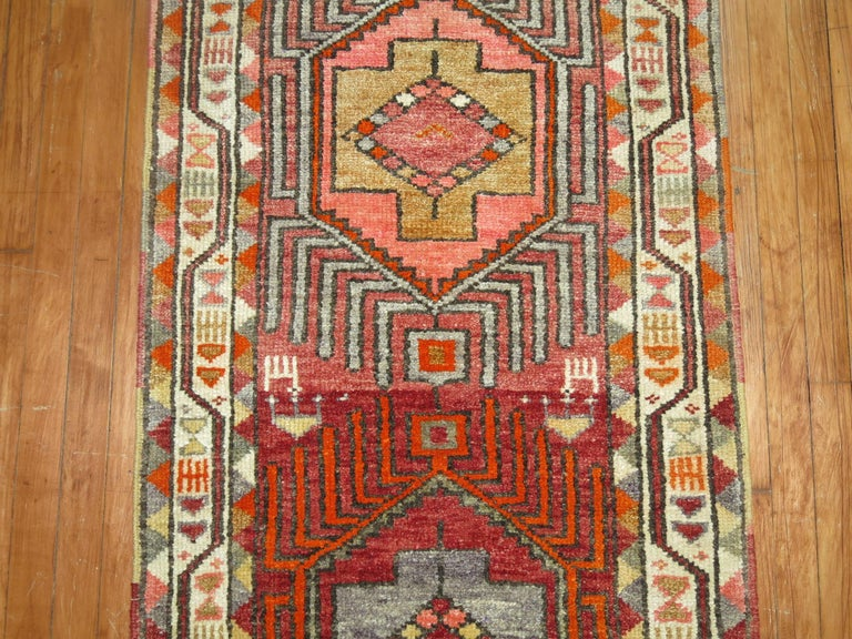 Hand-Woven Vintage Turkish Anatolian Runner For Sale