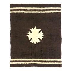 Vintage Turkish Angora Blanket Rug with Mid-Century Modern Style