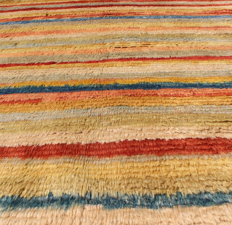 Vintage Turkish Angora Tulu Rug with Stripe Design in Yellow, Green, Red & Blue For Sale 4