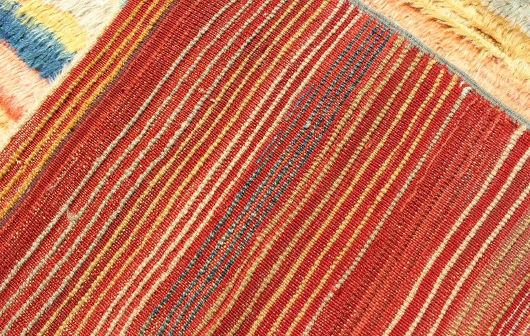 Vintage Turkish Angora Tulu Rug with Stripe Design in Yellow, Green, Red & Blue For Sale 5