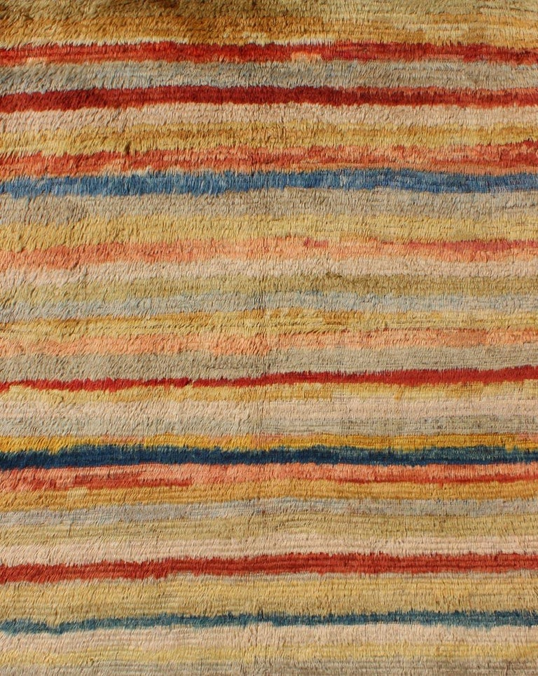 Hand-Knotted Vintage Turkish Angora Tulu Rug with Stripe Design in Yellow, Green, Red & Blue For Sale