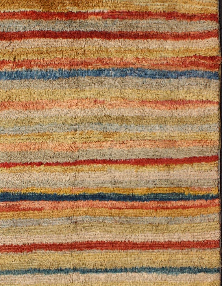Vintage Turkish Angora Tulu Rug with Stripe Design in Yellow, Green, Red & Blue In Excellent Condition For Sale In Atlanta, GA