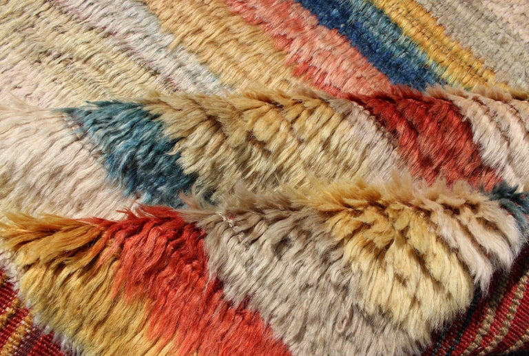 20th Century Vintage Turkish Angora Tulu Rug with Stripe Design in Yellow, Green, Red & Blue For Sale