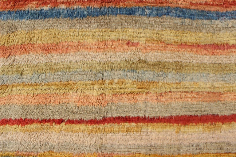 Wool Vintage Turkish Angora Tulu Rug with Stripe Design in Yellow, Green, Red & Blue For Sale