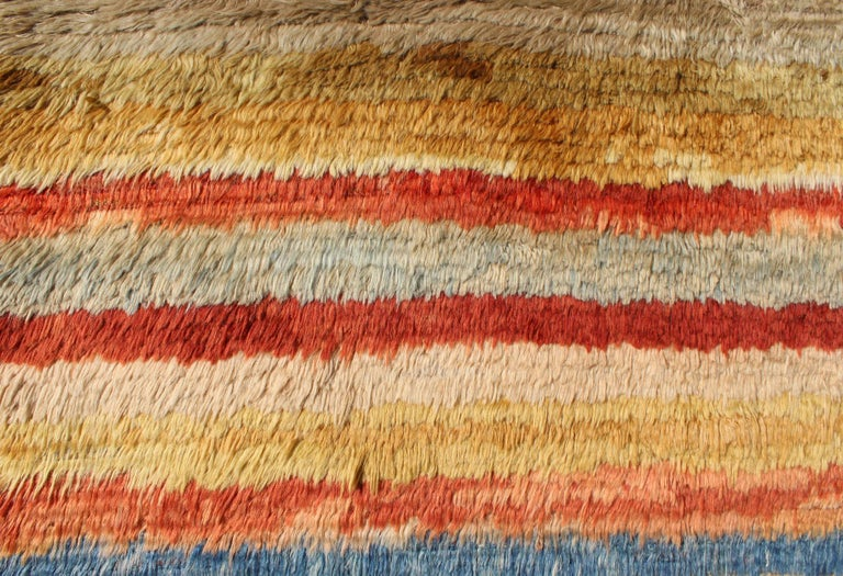 Vintage Turkish Angora Tulu Rug with Stripe Design in Yellow, Green, Red & Blue For Sale 1