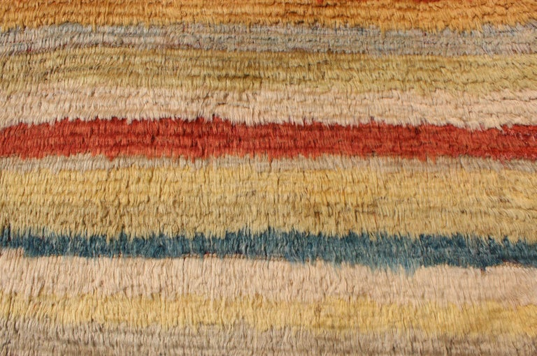 Vintage Turkish Angora Tulu Rug with Stripe Design in Yellow, Green, Red & Blue For Sale 2