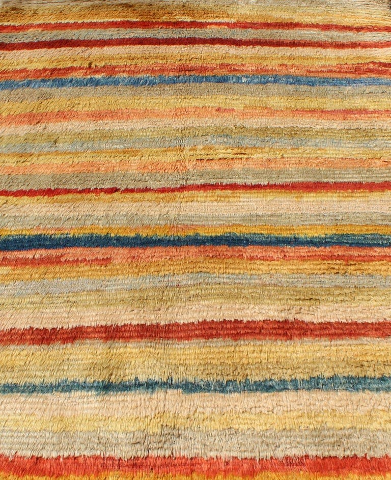 Vintage Turkish Angora Tulu Rug with Stripe Design in Yellow, Green, Red & Blue For Sale 3