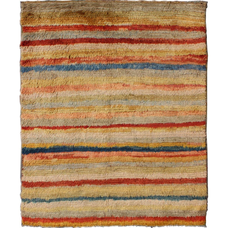 Vintage Turkish Angora Tulu Rug with Stripe Design in Yellow, Green, Red & Blue For Sale