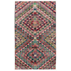 Vintage Turkish Art Deco Handmade Multicolor Abstract Wool Rug