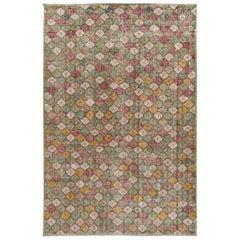 Vintage Turkish Art Deco Handmade Multicolor Geometric Wool Rug