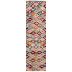 Vintage Turkish Art Deco Handmade Multicolor Geometric Wool Runner