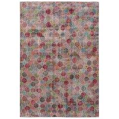Vintage Turkish Art Deco Room Size Multi-color Floral Wool Rug