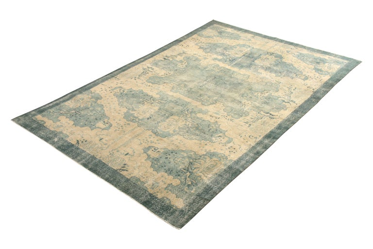 Hand knotted in wool originating from Turkey circa 1960-1960, this vintage rug remarks a vintage Turkish Art Deco rug design joining our Mid-Century Pasha Collection, honoring designer Zeki Müren with our team's hand-selected favorites like that of