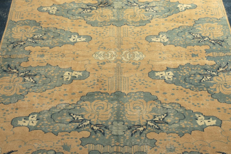 Vintage Turkish Art Deco Rug Beige Blue Mid Century All over Pattern  In Good Condition For Sale In Long Island City, NY
