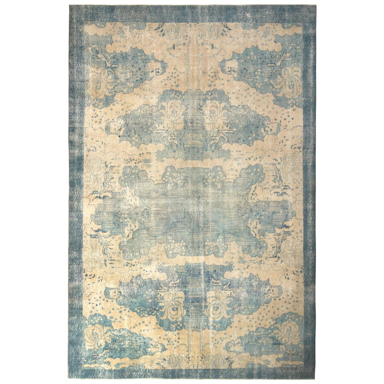 Vintage Turkish Art Deco Rug Beige Blue Mid Century All over Pattern  For Sale