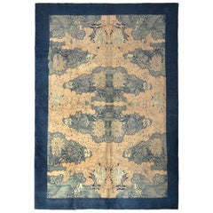 Vintage Turkish Art Deco Rug Beige Blue Midcentury All-Over Pattern