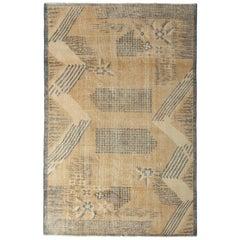 Vintage Turkish Art Deco Rug Beige Brown Midcentury Geometric Pattern