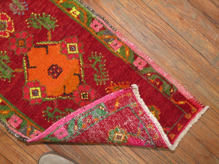 Hand-Woven Vintage Turkish Attitude Rug For Sale