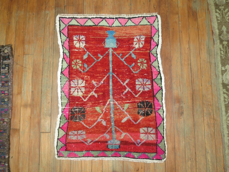 One of a kind vintage Turkish rug with intense bright colors. Part of our one of a kind attitude collection.