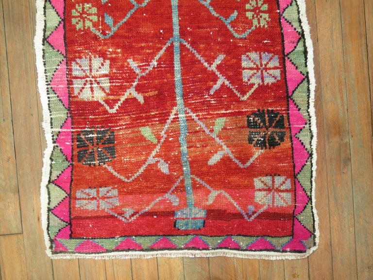 Bohemian Vintage Turkish Attitude Rug with Pink Accents For Sale