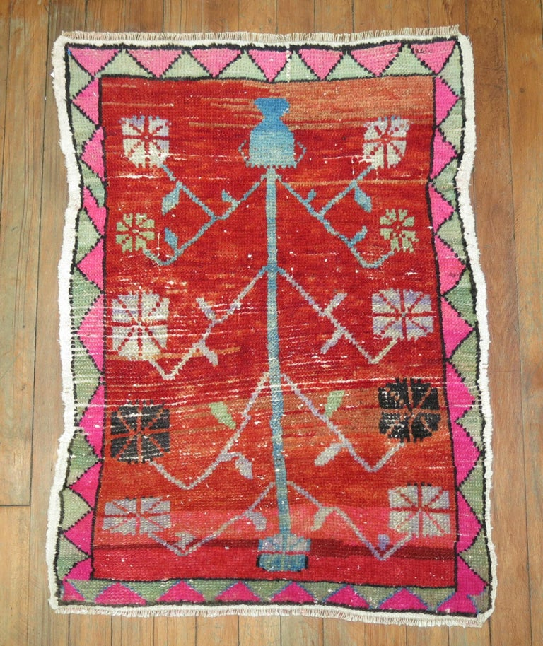 Hand-Woven Vintage Turkish Attitude Rug with Pink Accents For Sale