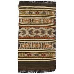 Vintage Turkish Balikesir Jajim Embroidered Kilim Rug with Boho Tribal Style