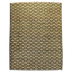 Vintage Turkish Black and Yellow Deco Rug