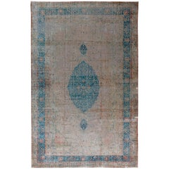 Vintage Turkish Borlou Blue and Beige Hand Knotted Wool Rug