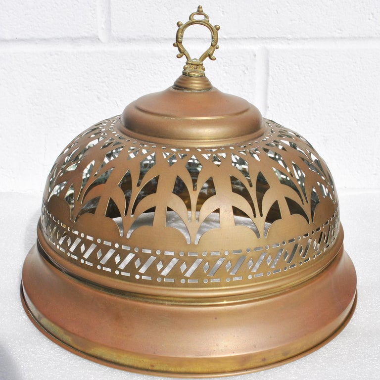 Unknown Vintage Turkish Brass Brazier with Sword Skewers For Sale