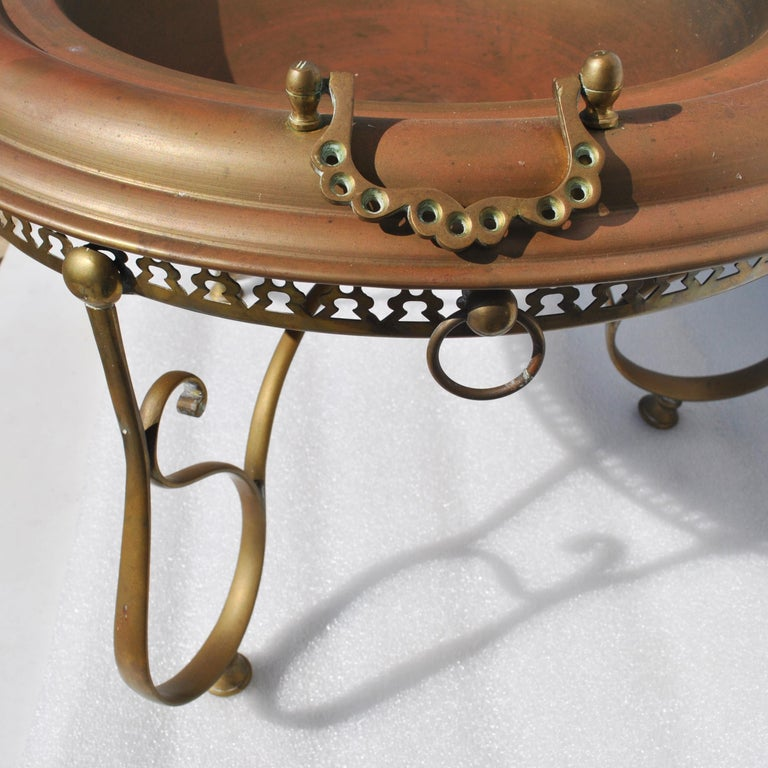 Vintage Turkish Brass Brazier with Sword Skewers In Good Condition For Sale In Pasadena, TX