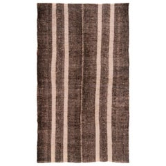 Vintage Turkish Brown and Beige Wool Kilim Rug
