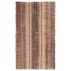Vintage Turkish Brown and Beige Wool Kilim Rug