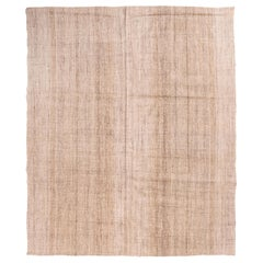 Vintage Turkish Brown and Beige Wool Kilim Rug with Contemporary Scratch Pattern